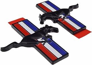 (Pair) Gloss Black Tri-bar Running Pony Horse Fender Side Emblem Badge for Ford Mustang