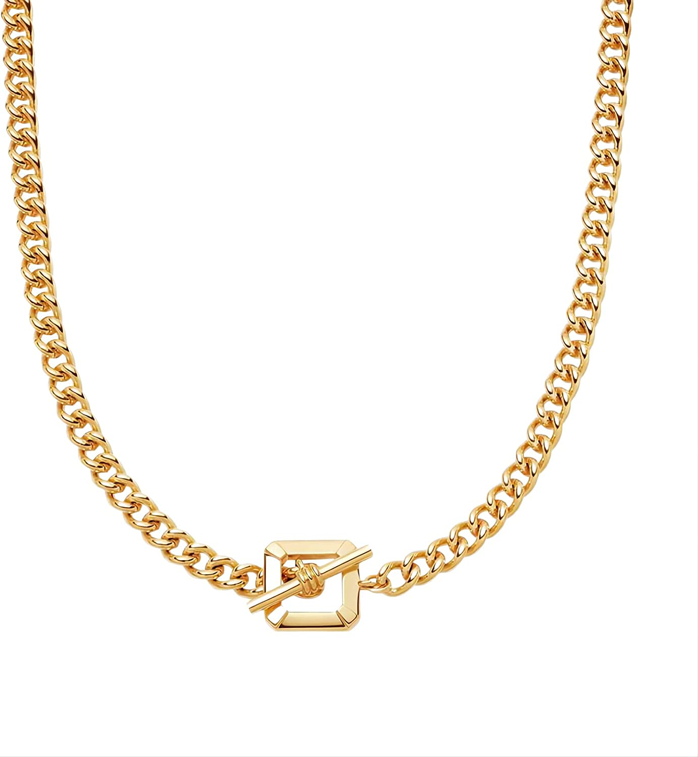 Cuban Chain Necklace For Women And Girls, 18K gold Plated Chunky Chain Necklace for Women And Girls 20 Inch, 6MM Cuban Curb Link Chain Necklace