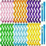 Kit de 30 Bigoudis de Cheveux Bigoudis de Coiffure en Spirale Bigoudis sans Chaleur Rouleaux à Cheveux en Spirale sans Chaleur Bigoudis de Cheveux de Vague avec 2 Crochets de Style