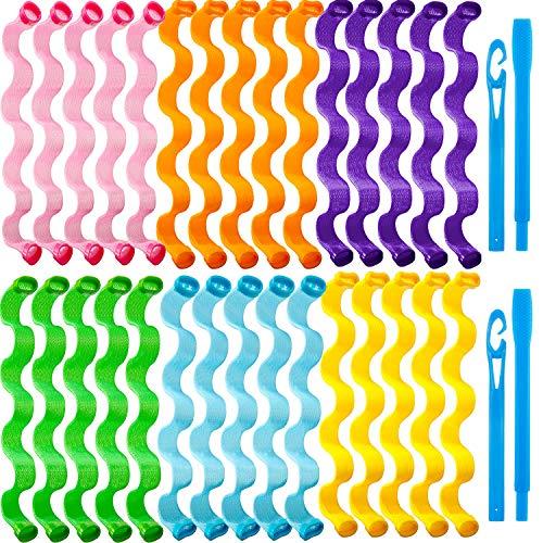 30 Bigodini Riccioli a Spirale Styling Kit Bigodini di Capelli Senza Calore Bigodini a Spirale Rulli...