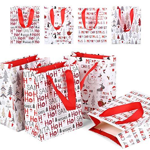 LIHAO 12 x Geschenktüten Weihnachten Geschenk Taschen Weihnachtstasche mit Griff Weihnachtstüte mit Weihnachtsmotiv für Weihnachten Geburtstag Hochzeit (18 x 23 x 10 cm)