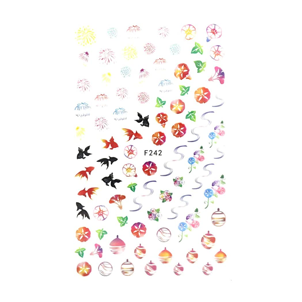 言うハッチ優雅irogel イロジェル ネイルシール 和夏シール【F242】日本 風物詩 祭り 浴衣 花火 金魚
