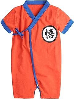 PAUBOLI Baby Kimono Bodysuit Cotton Summer Romper Outfits (15-24 Months, Orange)