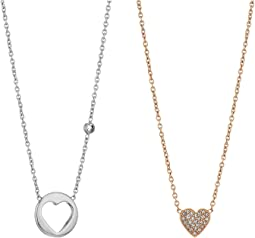 Fossil Gift Set Necklace Of Pave Heart and Open Heart Pendants