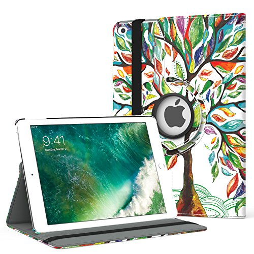 MoKo Case Fit 2018/2017 iPad 9.7 6th/5th Generation - 360 Degree Rotating Cover Case with Auto Wake/Sleep Compatible with Apple iPad 9.7 Inch 2018/2017, Lucky Tree