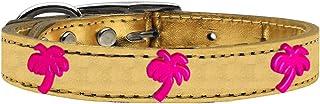 طوق من الجلد الطبيعي ذو لمعة معدنية للكلاب بحليات شجرة النخيل الوردية من ميراج بت برودكتس 83-109 Gd18، مقاس 45.72 سم، لون ...