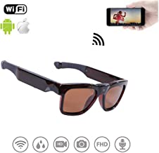 WiFi Live Streaming Video Sunglasses, Streaming Videos & Photos from Glasses to Mobile Phone by App with Ultra Full HD Camera, Built-in 32GB Memory and Polarized UV400 Protection Sunglasses