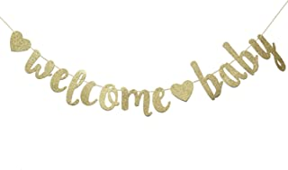 Welcome Baby Gold Glitter Banner- Baby Shower,Pregnancy Announcement, Gender Reveal Party Supplies (Gold)