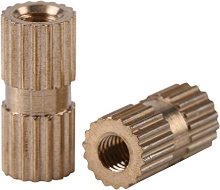 uxcell a16041800ux0816/M3/x 5/mm 0,5/mm de paso lat/ón cilindro moleteados tuercas rosca Insertar Embedded