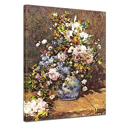 Wandbild Pierre-Auguste Renoir Stillleben mit großer Blumenvase - 40x50cm hochkant - Alte Meister Berühmte Gemälde Leinwandbild Kunstdruck Bild auf Leinwand