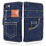 UK Trident ダークブルーデニム iPhone7 / iPhone8 / iPhone SE 第2世代 兼用 手帳型アイフォ……