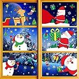 Pegatinas Navidad para Ventanas, Navidad Pegatina de Pared, Pegatina Copo de Nieve Navidad,Papá Noel Muñeco de Nieve Alce de La Puerta Decoración Ventana Bricolaje Pegatinas Electrostáticas (Navidad)