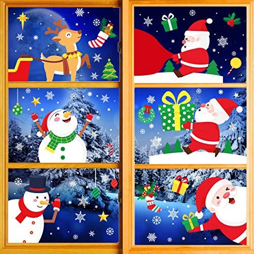 Natale Adesivi Vetro, Natale Vetrofanie, Natale Adesivi Porta, Finestre Adesivo Babbo Natale Pupazzo di Neve Alce Natale Adesivi, Rimovibile Murali Fai Da Te Sticke Statico Natale Adesivi. (Natale)