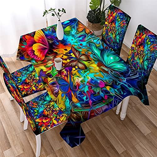 XXDD Mantel de Mariposa Impermeable Mantel de Mesa de Cena Mariposas voladoras Decoración Cubierta de Mesa Mantel Pastoral Lavable A4 140x200cm