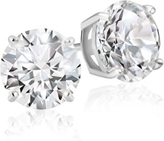 925 Sterling Silver Round Cut AAA Cubic Zirconia Stud Earrings