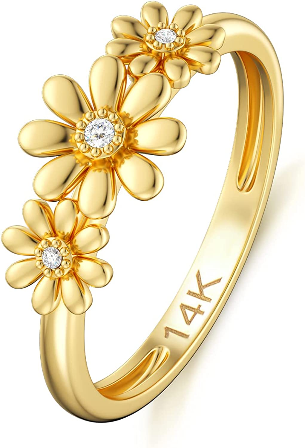 SISGEM 14K Real Gold Nature Max 56% OFF Diamond Ring Yellow Ranking TOP9 Daisy Women for