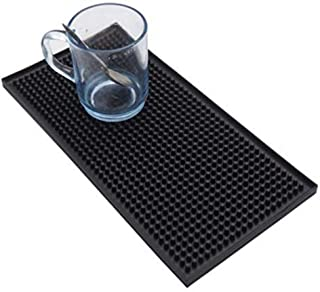 Haoyajia Rectangle Rubber Beer Bar Service Spill Mat For Table Black Water Proof Pvc Mat Kitchen Glass Coaster Placemat (1)