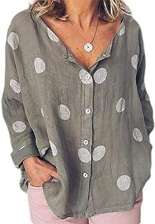 Loyomobak Women's Polka Dot Button Down Loose Long Sleeve Tops Blouse Shirts