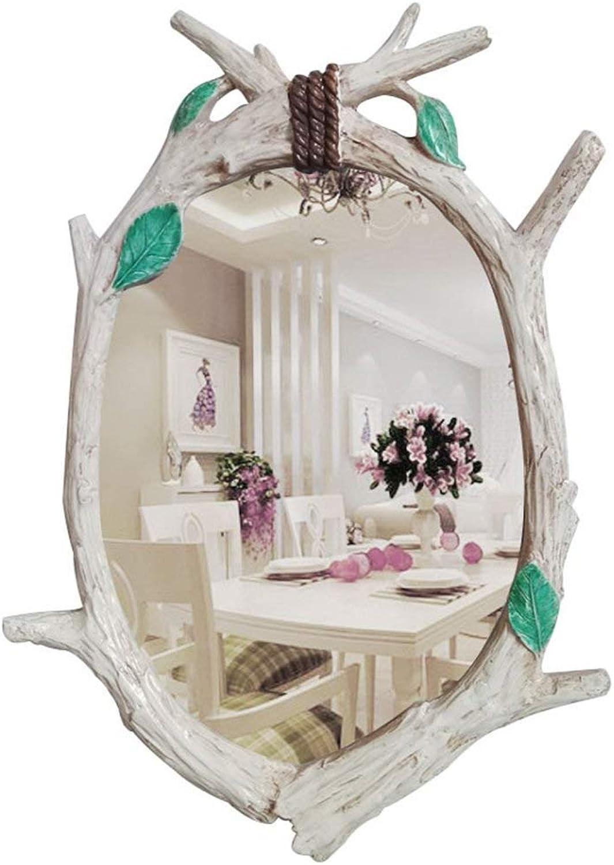 XIUXIU Mirror Nordic Retro Oval Wall Hanging Decorative Mirror Bedroom Convenient Waterproof Dressing Mirror (color   White Green Leaves, Size   60cm85cm)