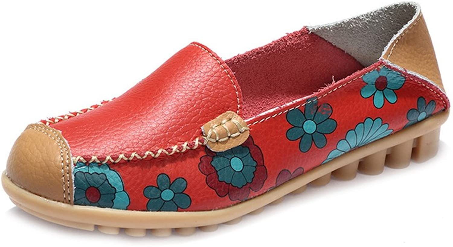 T-JULY Women's Penny Loafers shoes Flowers Printing Soft Comfy Boat Moccasin Flat shoes