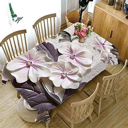 Polyester 3D Tischdecke geschnitzte weiße Blumen Staubdicht Küche Dekoration Tischplatte verschiedene Größen , g