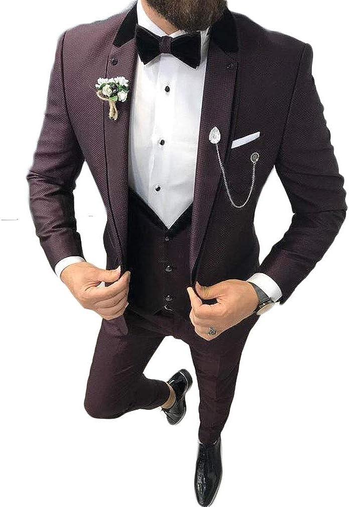 Men's Unique Dark Red Wedding Suits 3 PC Peak Lapel Groom Tuxedos Prom Suits Dinner Suits