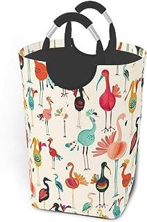 Flamant rose et dinde Panier à linge Panier à linge pliable en tissu Grand sac de vêtements sales Poubelle de lavage plian...