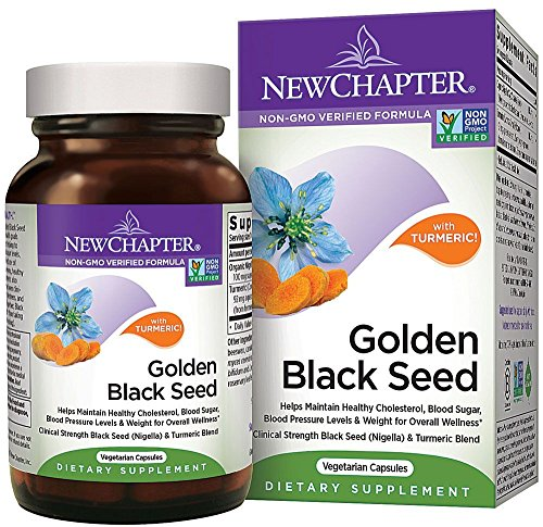 New Chapter Black Seed Oil - Golden Black Seed + Turmeric for Healthy Mood + Healthy Blood Sugar + Healthy Weight - 60 ct Vegetarian Capsule