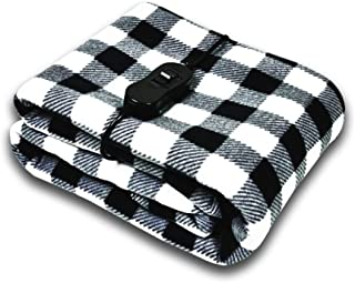 AUTOTRENDS-SJ734R017 12V Electric Heated Blanket Large Size Warm Blankets for Body Travel Blanket, Black and White