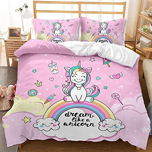YIUA Ropa de cama con diseño de unicornio, funda nórdica con 1/2 fundas de almohada (220 x 240 cm)