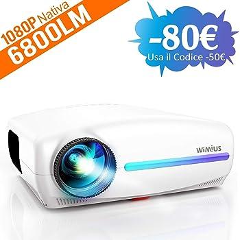 Videoproiettore,WiMiUS 6800 Lumen Proiettore Nativa 1920 x 1080P LED Full HD Supporto 4K Videoproiettore 4D Keystone Correzione ±50°Per Home Theater,PS4,Presentazione PPT,Con VGA HDMI AV USB