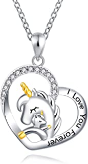 FREECO Sterling Silver Unicorn Pendant Necklace - Mother Daughter Love Heart Jewelry Girls Women
