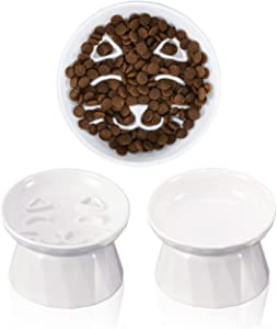 Frewinky Ceramic Slow Feeder Cat Bowls,Slow Feeder Dry/Wet Food and Water Bowl Set for Cats and Small Dogs,Elevated-Cat Slow Feeder,Set of 2