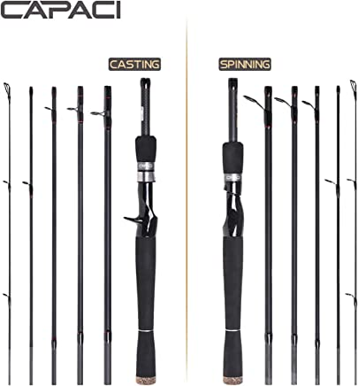 CAPACI Portable Travel Casting Spinning Bass Fishing Rods...