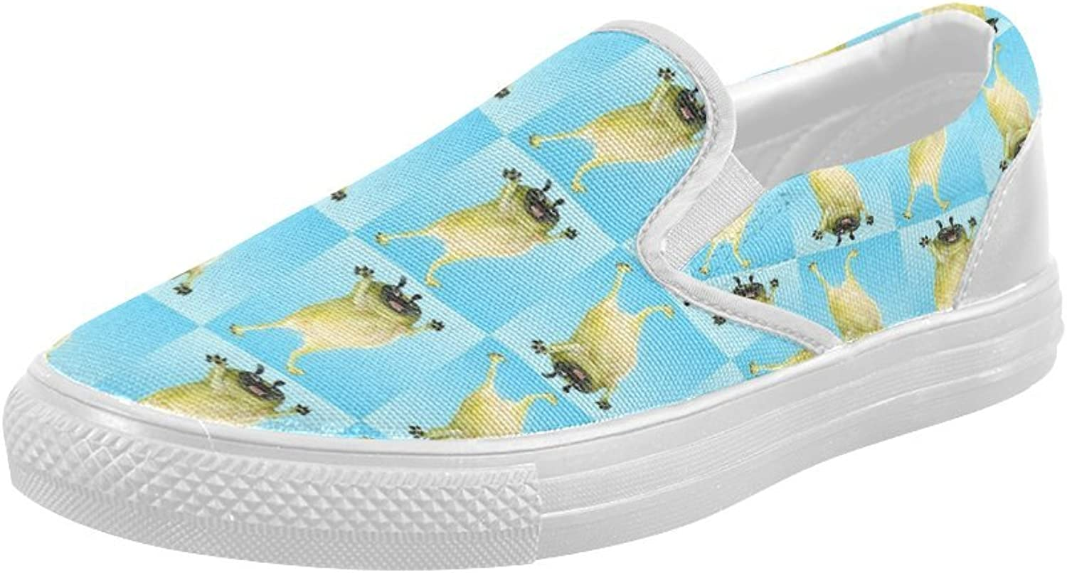HUANGDAISY shoes Funny Pugs Background Slip-on Canvas Loafer for Women