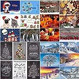 Cartoline di Natale con 24 disegni: un mix colorato di 24 diverse carte nostalgiche, paesaggi invernali e divertenti cartoline di Natale di EDITION COLIBRI