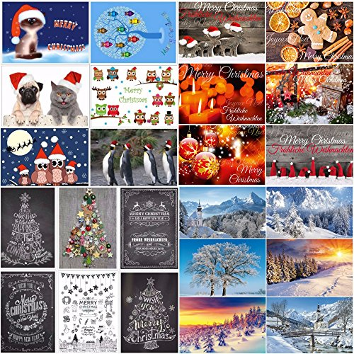 24 tarjetas de Navidad: 24 diseños diferentes: una colorida combinación de tarjetas nostálgicas, paisajes de invierno y divertidas postales de Navidad de EDITION COLIBRI