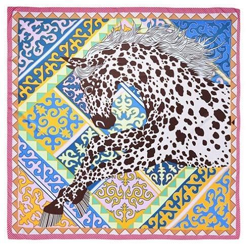 AHUIOPL 100% Seide Frauen Tiere Drucken Seide Foulard Große Quadratische Schals Halstuch Kopf Hijab Große Wraps 130X130 cm, Rose