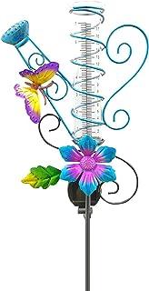 POHOVE Farfalla Pioggia Manometro Solare Farfalla Pioggia Manometro Giardino Statua Illuminata Farfalla Giardino Pioggia M...