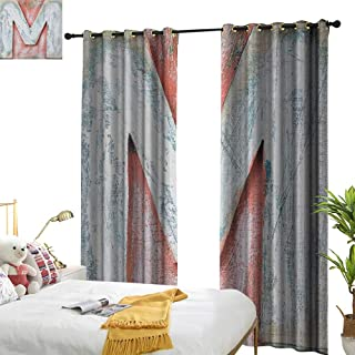 longbuyer Letter M Decor Curtains by Old Wood Capital Letter M Natural Worn Out Look Texture Language Image W84 x L96,Suitable for Bedroom Living Room Study, etc.