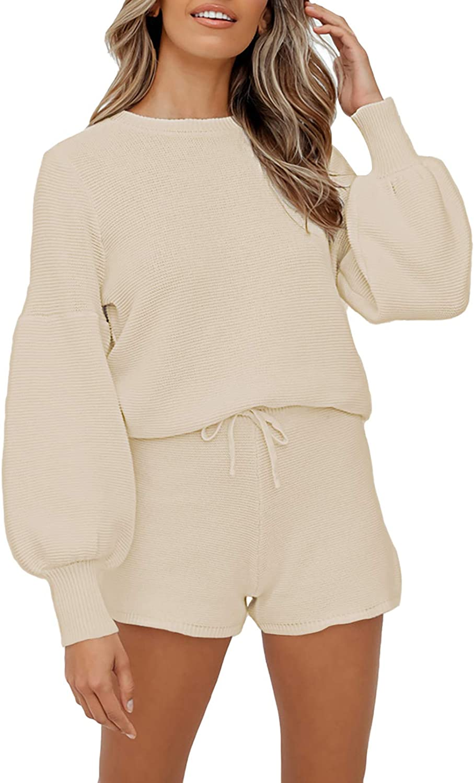 Women's 2 Piece Chunky Knit Pajamas Sets Long Lantern Sleeve Pullover Crop Top Drawstring Shorts Lounge Set Sleepwear Apricot XL