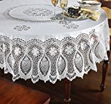 The Paragon Vinyl Lace Tablecloth - 70' Round Faux Lace Plastic Table Cover is Reusable and Protects Surface from Scratches