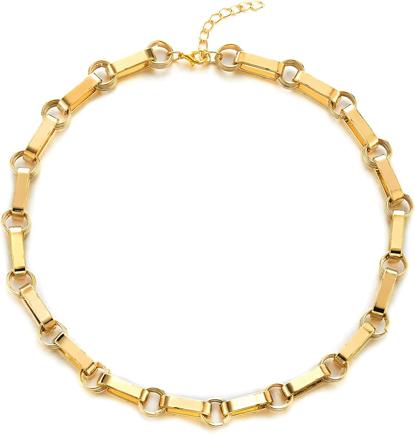 Large Gold Color Choker Collar Statement Necklace, Double Circles Oval Link Chain, Light Weight