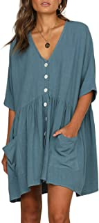 FIYOTE Women Button Down Long Sleeve Casual Loose Swing Tunic Dress with Pocket S-XL