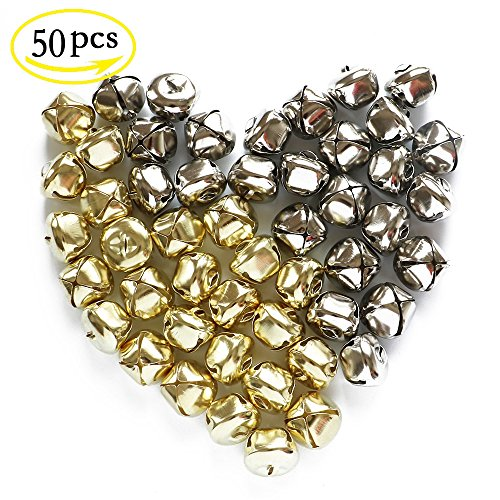 YEJI 50pcs 1 Inch (Gold and Silver) Christmas Bells Iron Loose metal Beads Jingle Bells Christmas Decoration Pendants DIY Crafts Handmade Accessories