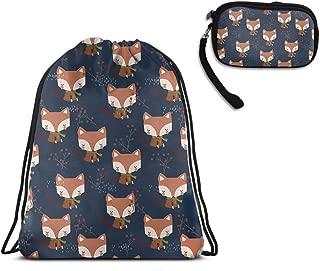 Travel Swim Drawstring Sack Shoulder Bags - Cute Fox Drawstring Rucksack, Large Lightweight Water Resistant Shoulder Backpack + Clutch Bag Handbag