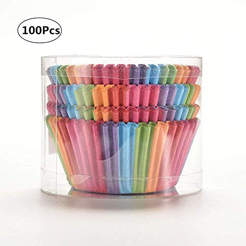 Yosoo Colorful Rainbow Paper Cake Cup Baking Muffin Liner 100 Pcs