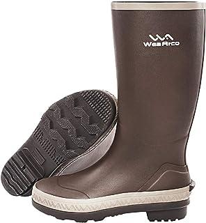 Pumpumly Botas de lluvia marrón botas de lluvia de goma botas de goma botas de vadeo granja jardinería granja barro caza c...