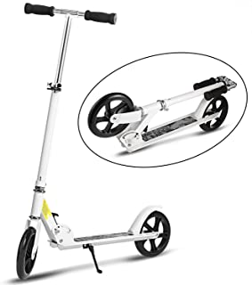WeSkate Scooter for Adults Teens | Adjustable Foldable + Dual Suspension + Shoulder Strap + 8 inches Big Wheels + Rear Fender Brake, Aluminium Alloy Commuter Scooter for Kids Age 12 Up, Ride Smooth