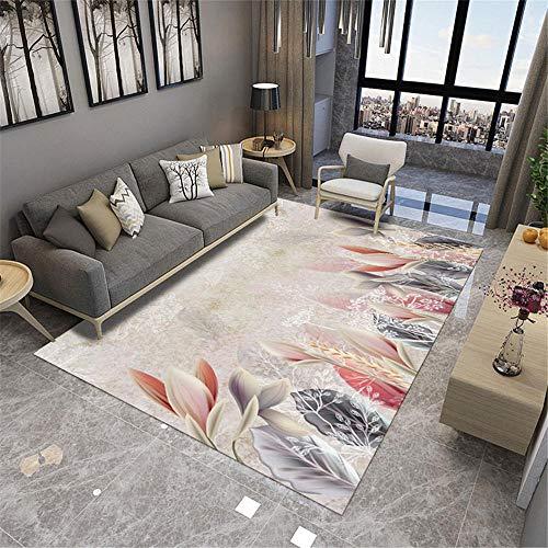 Alfombras alfombras para Cocina Rosa Gris Alfombra Floral Agua Lavado fácil Limpieza Sala de Estar decoración habitación niño decoración Salon 180*280cm